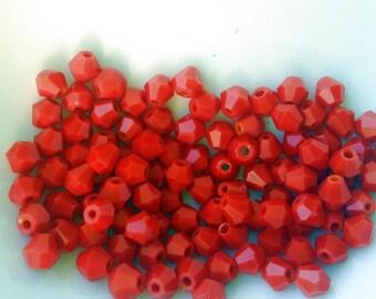 SWAROVSKI Crystal beads 10 beads (M52) 4 mm red bicone beads
