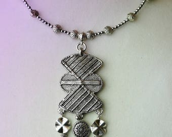 African Amulet Silver necklace