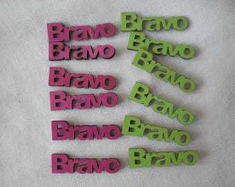 "Set of six words ""Bravo"" pink or green"