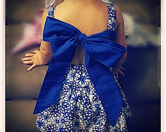 toddler dress baby girl dress blue floral dress bow back dress twirly dress