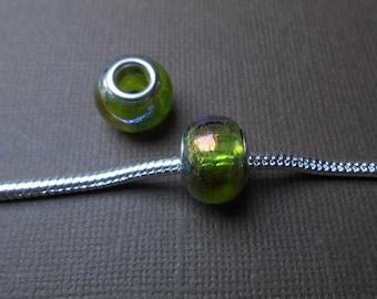Light green glass Lampwork European bead