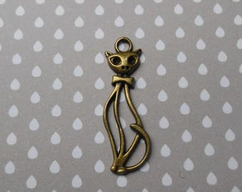 Charm, bronze cat pendant 34 x 10 mm