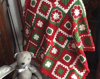 Plaid Christmas granny square, Merino Wool