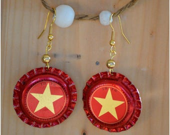 """Earrings """"Star"""" beer Cap"""