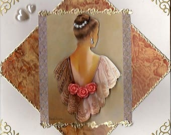 card 3D woman shawl