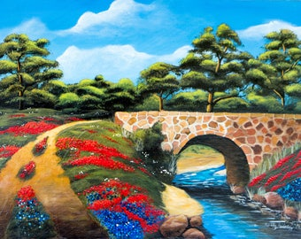 """Springtime in the Country / 18""""x24"""" / Acrylic Painting on Masonite"""