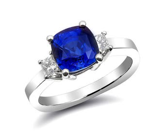 Natural Blue Sapphire 2.86 carats set in 14K White Gold Ring with 0.27 carats Diamonds