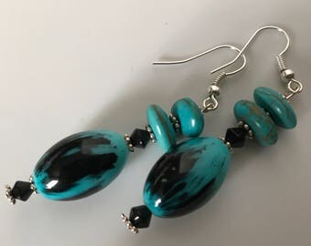 "Handmade Aqua and Black Glass Beaded Dangle Earrings  2"" Long NWT"
