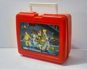 Ghostbusters Lunchbox Thermos 1986 Red Plastic Vintage
