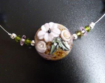 Purple Lampwork Glass Beads necklace