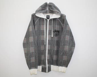 Stussy Micro Checkered Black White Poly Cotton Hoodie Size L