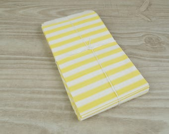 Pouches gift bags - set of 10 - white patterned paper 9 x 15 cm for gifts, jewelry, candy yellow horizontal stripes