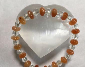Red rabbit hair and rock crystal bracelet  #b1