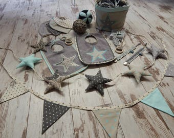Padded fabric Bunting with stars