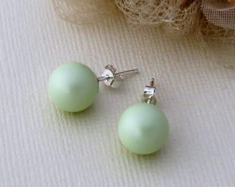 Pastel  Green Studs, Swarovski Green Bridal Earrings, Mint Green Studs, Green Bridesmaid Earrings, Bridesmaid Gift, Wedding Jewelry