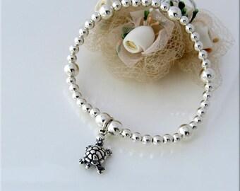 Sterling Silver Tortoise Bracelet, Tortoise Jewelry, Tortoise Gift for Her