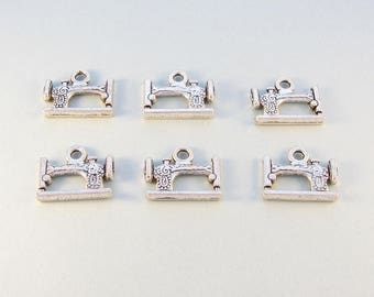 Sewing machine charms / 6 double sided Tibetan silver sewing charms
