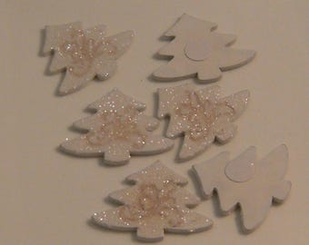 White sequin 39mm x 6 wooden Christmas tree