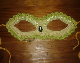 Yellow and green crochet mask