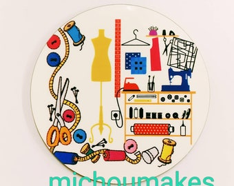 Round sewing room drinks coaster