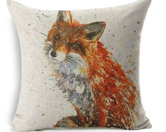 Red fox watercolour painting style square linen cushion cover