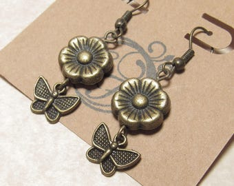 Antiqued Brass Flower and Butterfly Earrings
