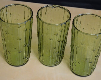 Set of 3 Anchor Hocking Avocado Green 12 oz TAHITI BAMBOO Drinking Glasses, Tumblers, Iced Tea Lemonade, 5.75""