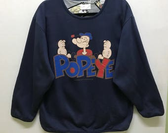 Rare!!! Popeye by King Features Syndicate Pullover Big Logo and Picture Spellout Both Side Wear