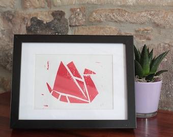 A5 linocut decoration - Origami bird - red