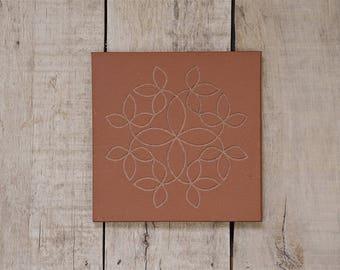 Tile Trivet/Trivet for Hot Dish/Engraved/Stone/Table Centerpiece/Housewarming/Kitchen Decor/Engraved Kitchen Ware/Weaved Vines