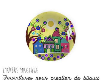 2 cabochons to glue glass 14 mm M1038 House