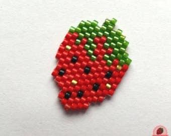 Strawberry brooch beads Miyuki