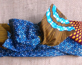 African turban, hard headband for girl and woman, wax patterns spirals