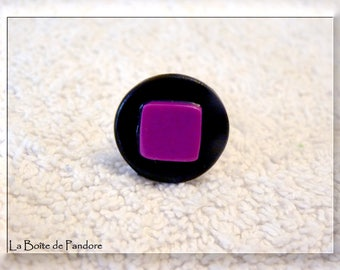"""Geometric effect"" ring with polymer clay"
