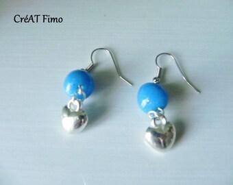 Blue earrings with heart
