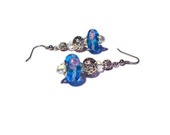 Retro earrings, light blue murano glass beads
