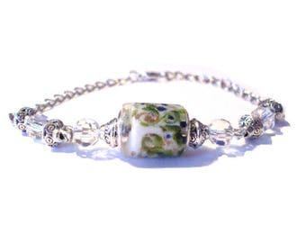 Vintage bracelet, murano glass tube white blue floral pattern