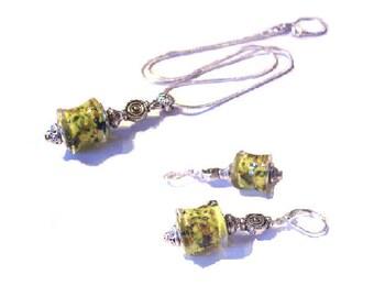 Set of Silver 925, glass yellow European bead