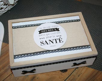 box for tea or jewelry, letters, black and white modern gift idea?