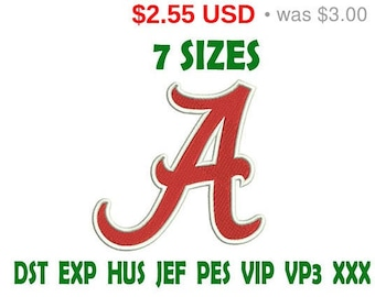 Sale 15% Alabama A logo embroidery design - Instant Download machine embroidery pattern