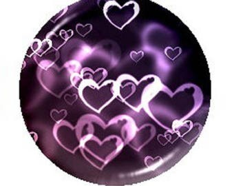20mm cabochon heart purple background
