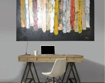 Wall art, décor, abstract peinture, mural wall, acrylic, black, metallic, mixed medium