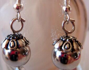 Antique Gun Cup silver metal bead earrings