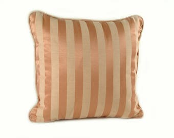 Coral and Taupe Striped Square Pillow