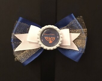 Menorah Hanukkah Bow