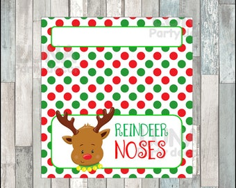 Reindeer Noses Bags Toppers , Christmas Treat bags, Printable reindeer Noses Christmas Gift Bags Instant download