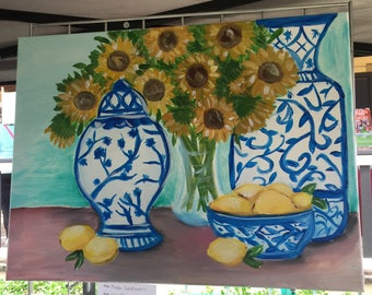 Sunflowers and ginger jars