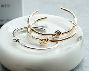 Rose gold/gold/silver plated trendy love knot cuff/bangle bracelet (Tie the knot-bridesmaid gift)