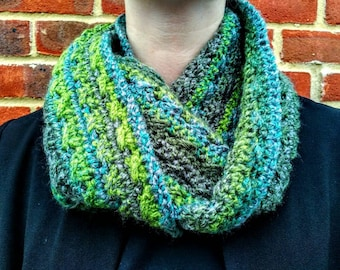 Green and Grey Crochet Infinity Scarf