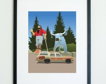 Paul Bunyan and Babe the Blue Ox Family Truckster Vacation Movie Poster // man cave art // gifts for him // groomsman gifts